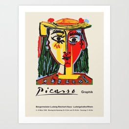 Pablo Picasso. Vintage poster for exhibition in Ludwigshafen am Rhein, Germany, 1968. Art Print