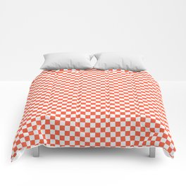 Living Coral Color of the Year in Coral Orange and White Checkerboard Comforters
