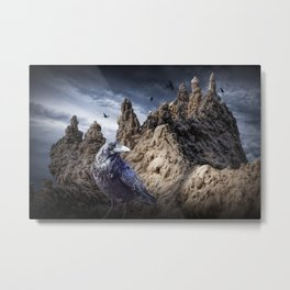 Gothic Sand Castle Towers and Black Ravens Metal Print