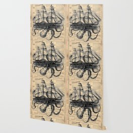 Octopus Kraken attacking Ship Antique Almanac Paper Wallpaper