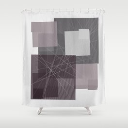 Gray and Pink Square Shower Curtain