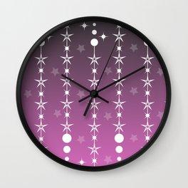 Stars and Night Sky - Purple Gradient Shapes Wall Clock