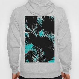 palm leaf abstract with blue background Hoody