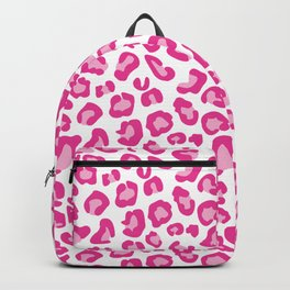 Leopard-Pinks on White Backpack
