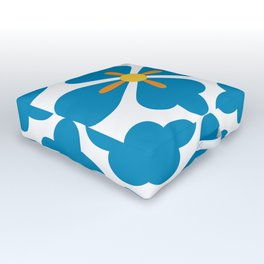 Abstract blue blossoms geometric pattern, large scale Outdoor Floor Cushion