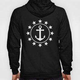 White Anchors & Stars Pattern on Navy Blue Hoody