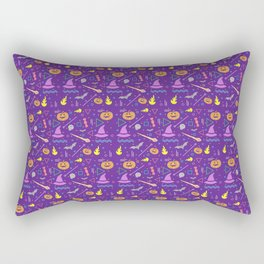 Halloween in Purple with Pumpkins and Witches Hat Rectangular Pillow