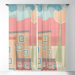 Summer, vacation, painting, home, Sunny, modern Sheer Curtain