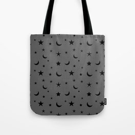 Black moon and star pattern on grey background Tote Bag