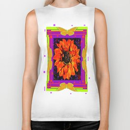 Orangey-Red Dahlia Butterly Lilac Pattern Biker Tank