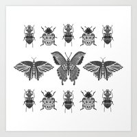 insects Art Prints featuring insects by Textile Candy