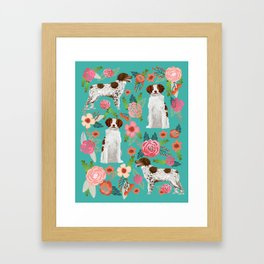 Brittany Spaniel florals portrait dog gifts for dog lovers cute puppies pet portrait Framed Art Print