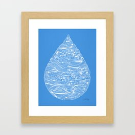 Water Drop – White Ink on Blue Framed Art Print