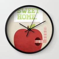 home sweet home Wall Clocks featuring Home Sweet Home by Chase Kunz