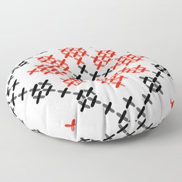 Traditional Romanian flower cross-stitch pattern white Floor Pillow