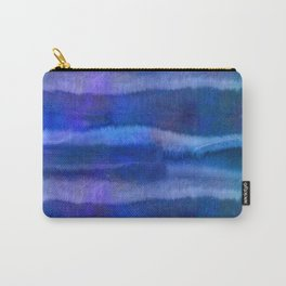 Blue Abstract Watercolor Striped Painting Carry-All Pouch