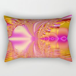Golden Pink Fiesta, Abstract Fractal Ocean Ripples Rectangular Pillow