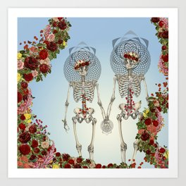 The Summer of Love anatomical skeleton collage art by bedelgeuse Art Print