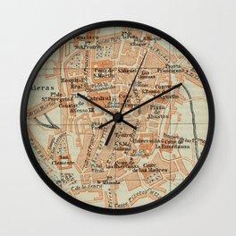 Vintage Santiago de Compostela Spain Map (1913) Wall Clock