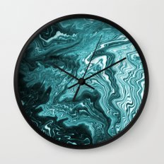 Yumiko - spilled ink painting abstract minimal ocean wave water sea monochromatic trendy hipster art Wall Clock