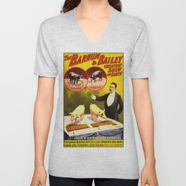Vintage Circus Poster - Trained Pigs Unisex V-Neck