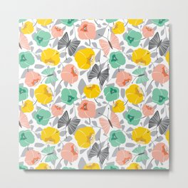 Butterfly Blossom Floral - Peach Metal Print