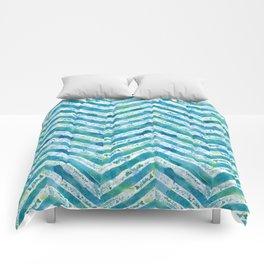 Blue green watercolor chevron pattern Comforters