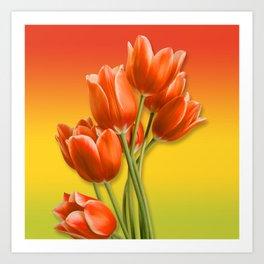 Orange Tulips & Warm Gradient Art Print