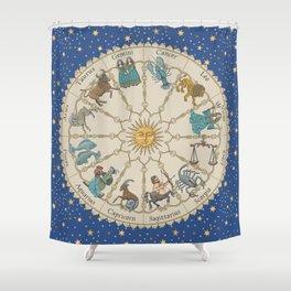 Vintage Astrology Zodiac Wheel Shower Curtain