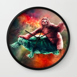 Funny Space Sloth Riding On Turtle Wall Clock