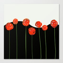 red flowers on black and white Canvas Print
