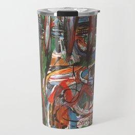 Mà abstracta de colors amb monstre a l 'esquerra Travel Mug