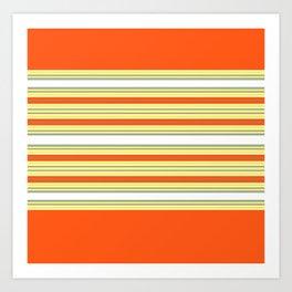 Bright Orange and Yellow Stripes Art Print