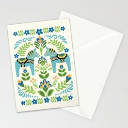 Swedish Dala Horses Teal Stationery Cards