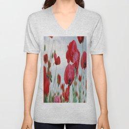 Field of Poppies Against Grey Sky Unisex V-Neck