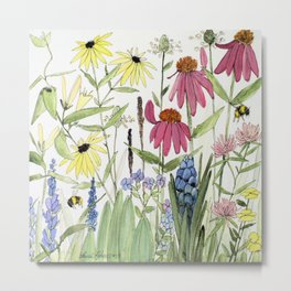 Flowers on White Painting  Metal Print