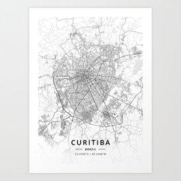 Curitiba, Brazil - Light Map Art Print