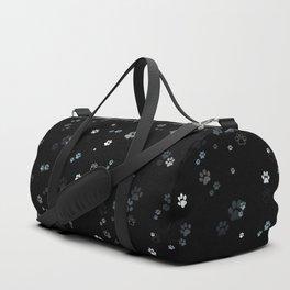 Cat Paw Prints - Black Background Duffle Bag