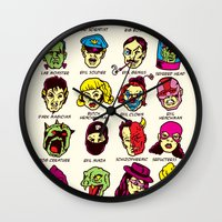 league Wall Clocks featuring The League of Cliché Evil Super-Villains by Joshua Kemble