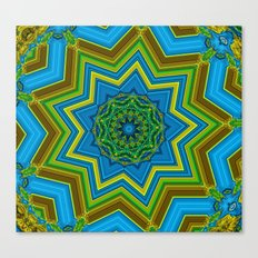 Lovely Healing Mandalas in Brilliant Colors: Blue, Yellow, Gold, and Green Canvas Print
