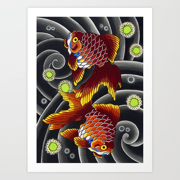 Japanese Tattoo Style Goldfish By Sebastian Orth Art Print By