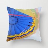 hot air balloon Throw Pillows featuring BALLOON LOVE - Hot Air Balloon by Brian Raggatt