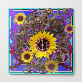 CONTEMPORARY  YELLOW SUNFLOWER CLOCK PURPLE ARTWORKS Metal Print