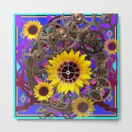CONTEMPORARY  YELLOW SUNFLOWER CLOCK PURPLE ARTWORKS Metal Print