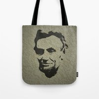 lincoln Tote Bags featuring Lincoln by Charles Emlen