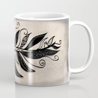 feather Mugs featuring FEATHER by Nika