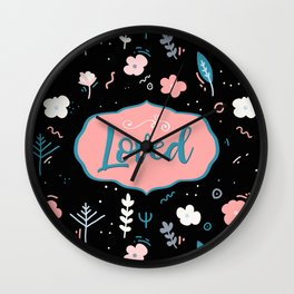 Loved - Black and Pink Design Wall Clock