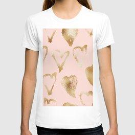 Hand drawn golden heart pattern T-shirt