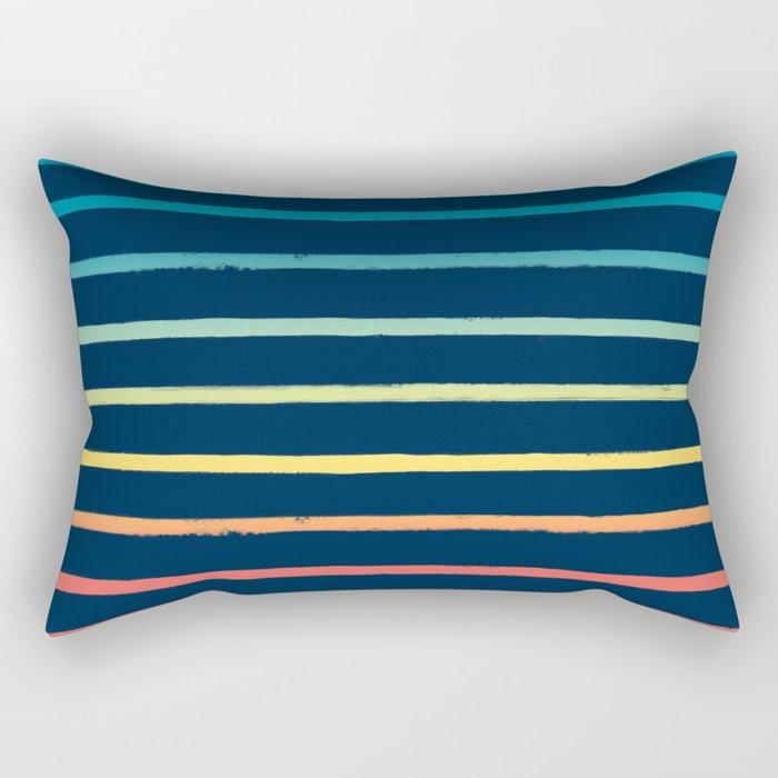Blue Festival Rainbow Stripe Rectangular Pillow