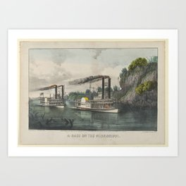 A Race on the Mississippi , Lithographed and published by Currier & Ives (American, active New York, Art Print